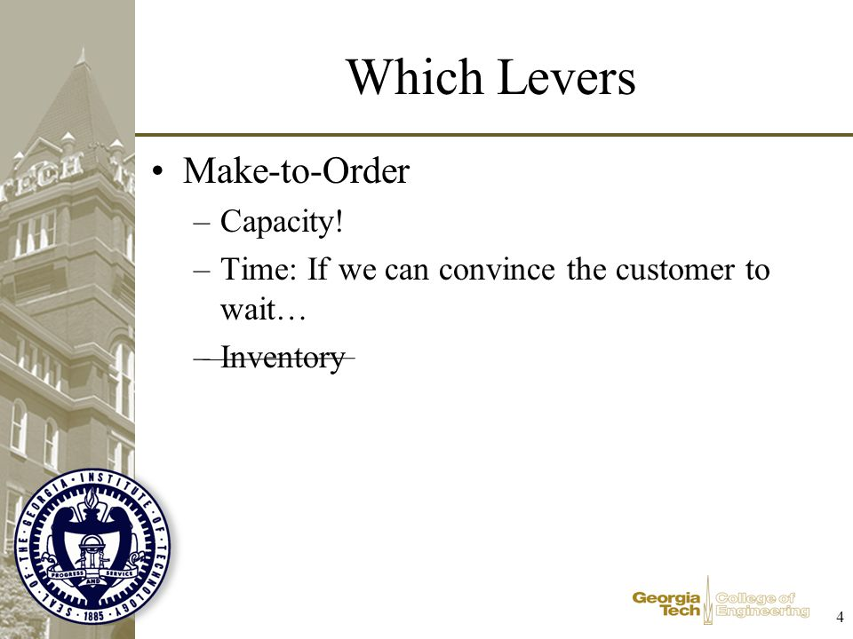 Which Levers Make-to-Order Capacity!
