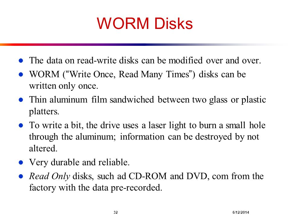 WORM Disks The data on read-write disks can be modified over and over.