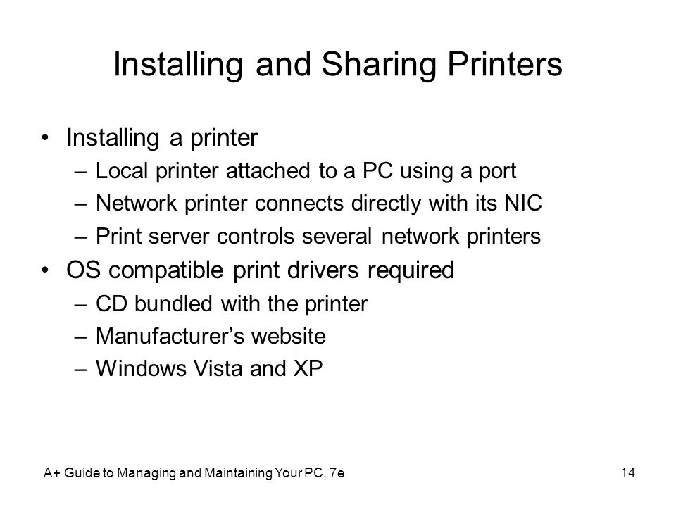 Installing and Sharing Printers