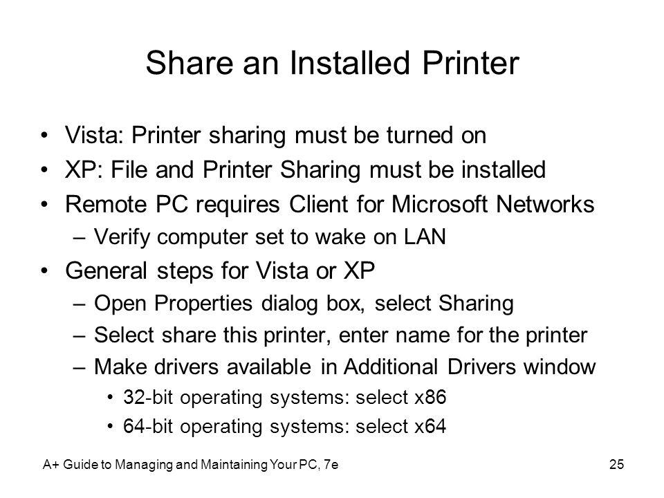 Share an Installed Printer