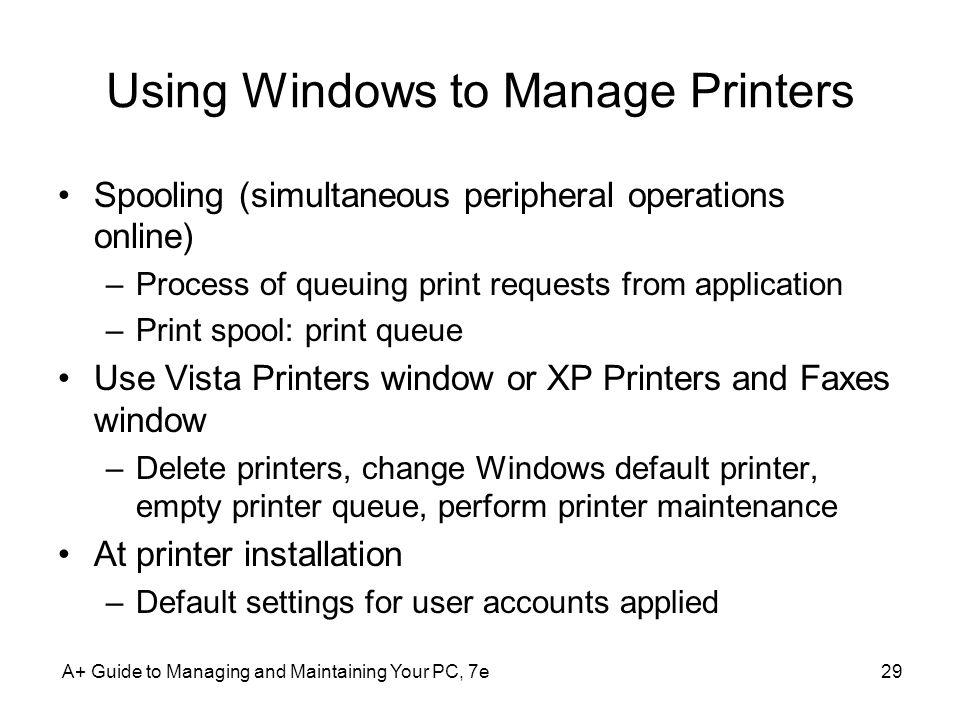 Using Windows to Manage Printers