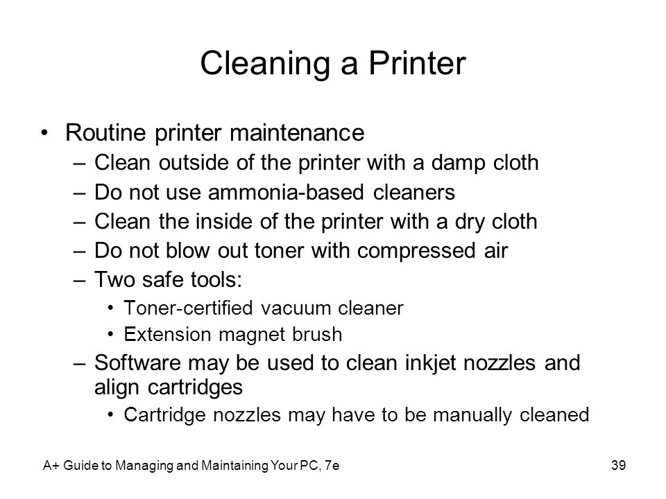 Cleaning a Printer Routine printer maintenance