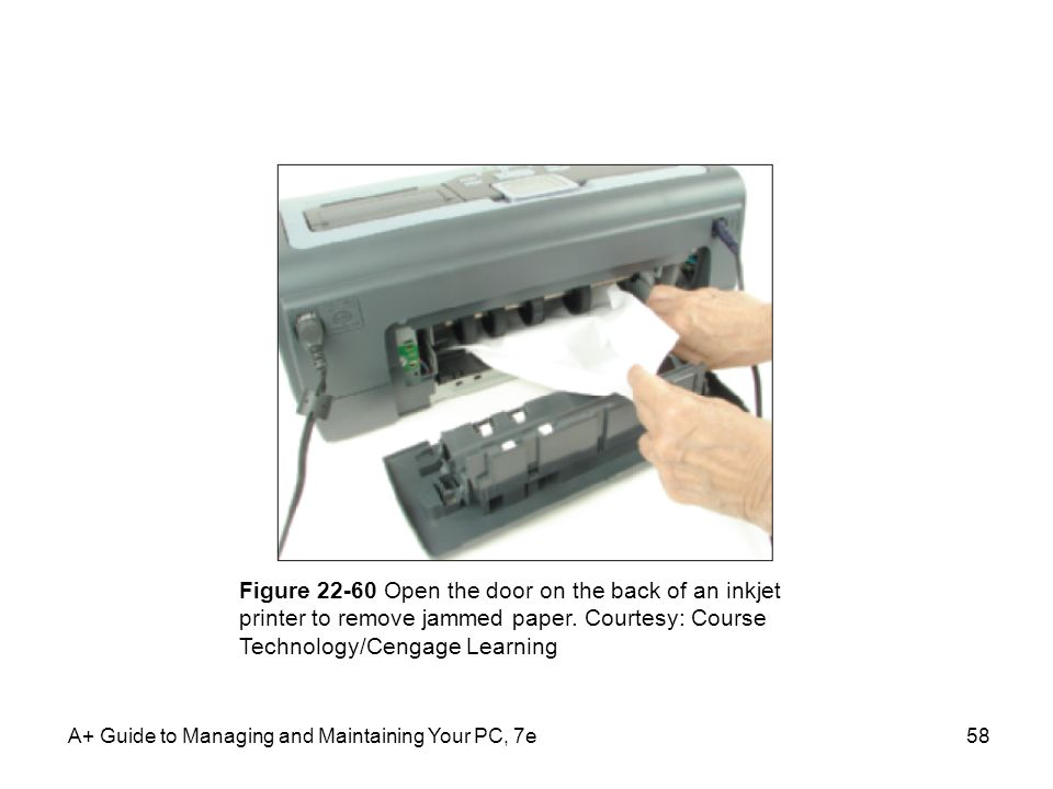 Figure 22-60 Open the door on the back of an inkjet printer to remove jammed paper. Courtesy: Course Technology/Cengage Learning