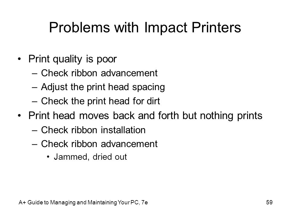 Problems with Impact Printers