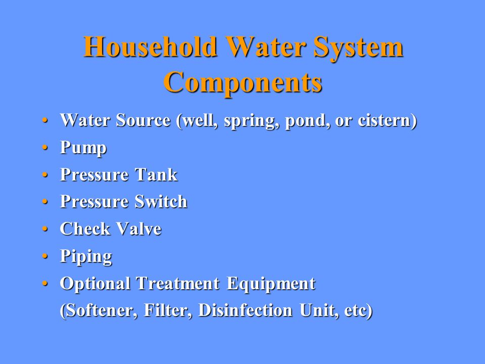 Household Water System Components