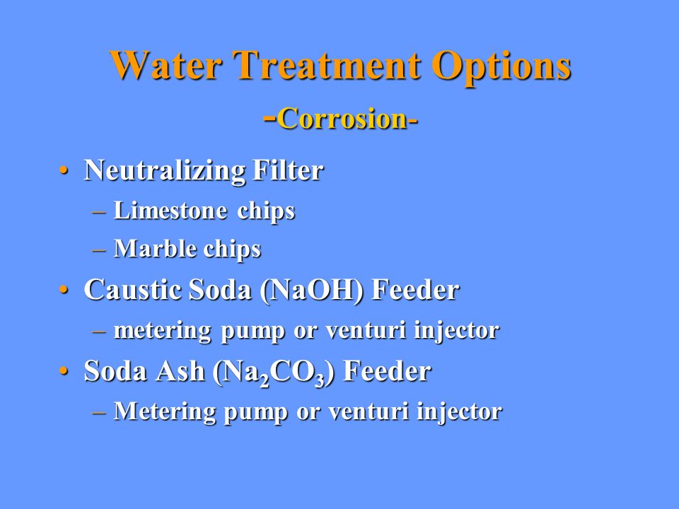 Water Treatment Options -Corrosion-