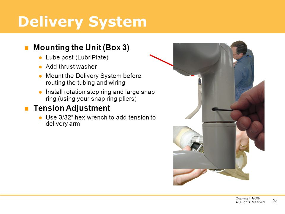 Delivery System Mounting the Unit (Box 3) Tension Adjustment