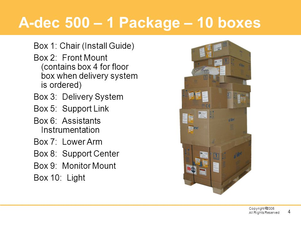 A-dec 500 – 1 Package – 10 boxes Box 1: Chair (Install Guide)