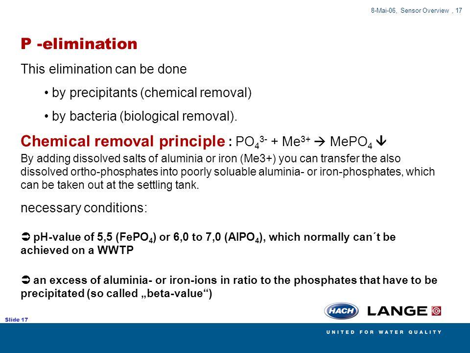 Chemical removal principle : PO43- + Me3+  MePO4 