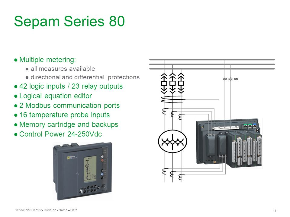 Sepam Series 80 Multiple metering: 42 logic inputs / 23 relay outputs