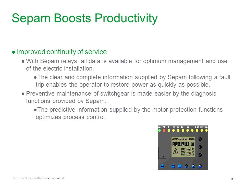 Sepam Boosts Productivity