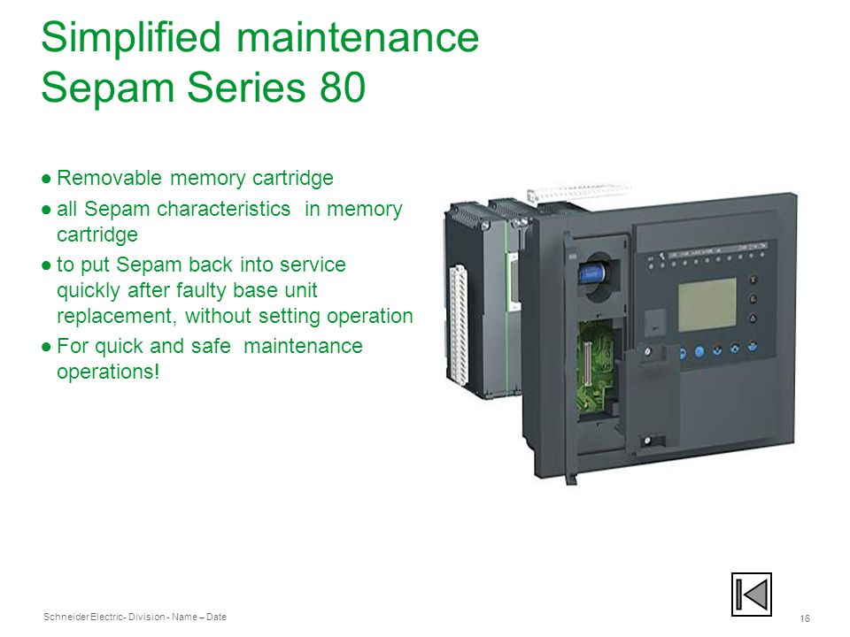 Simplified maintenance Sepam Series 80