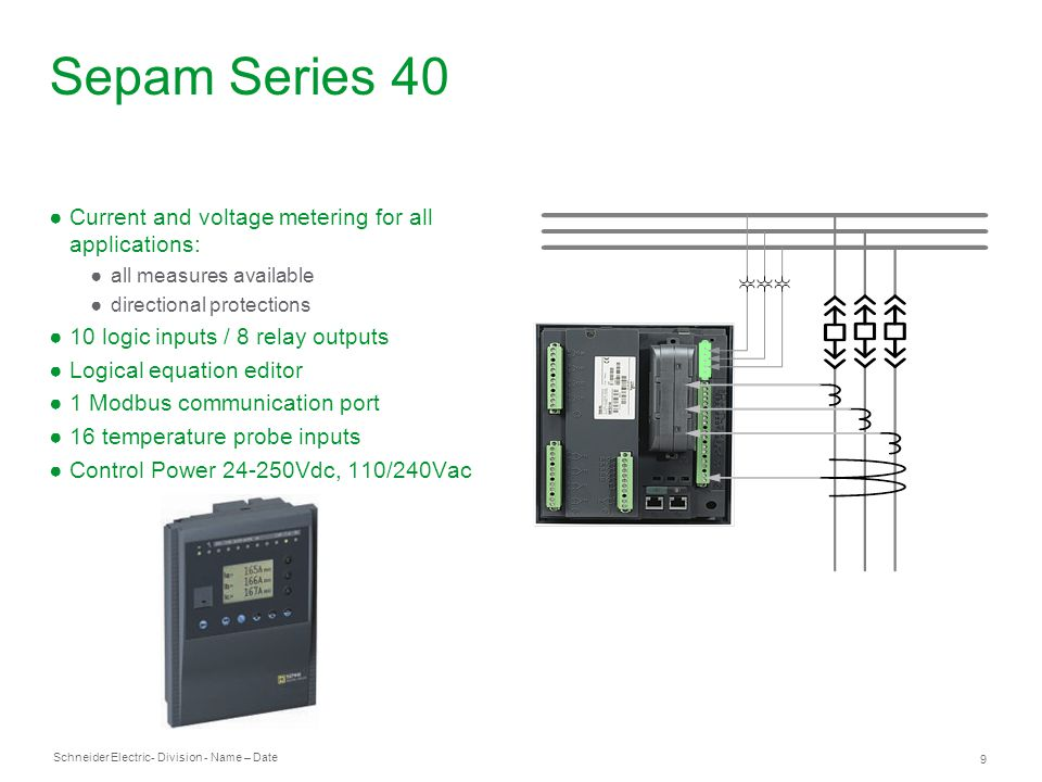 Sepam Series 40 Current and voltage metering for all applications: