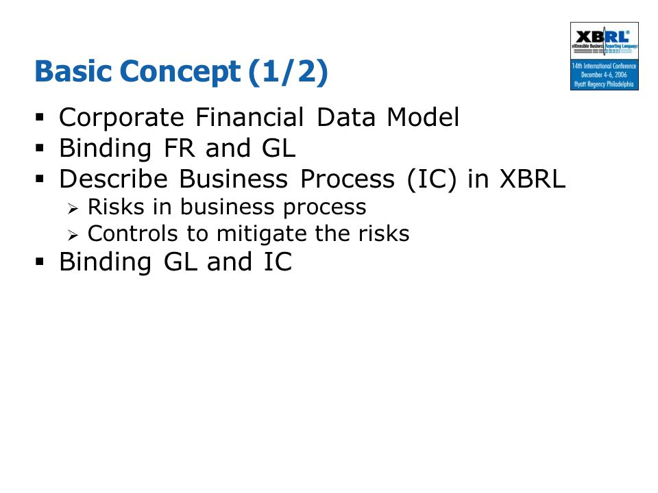 Basic Concept (1/2) Corporate Financial Data Model Binding FR and GL