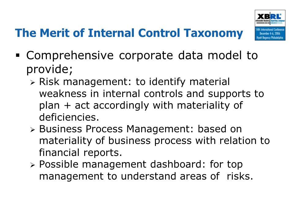 The Merit of Internal Control Taxonomy