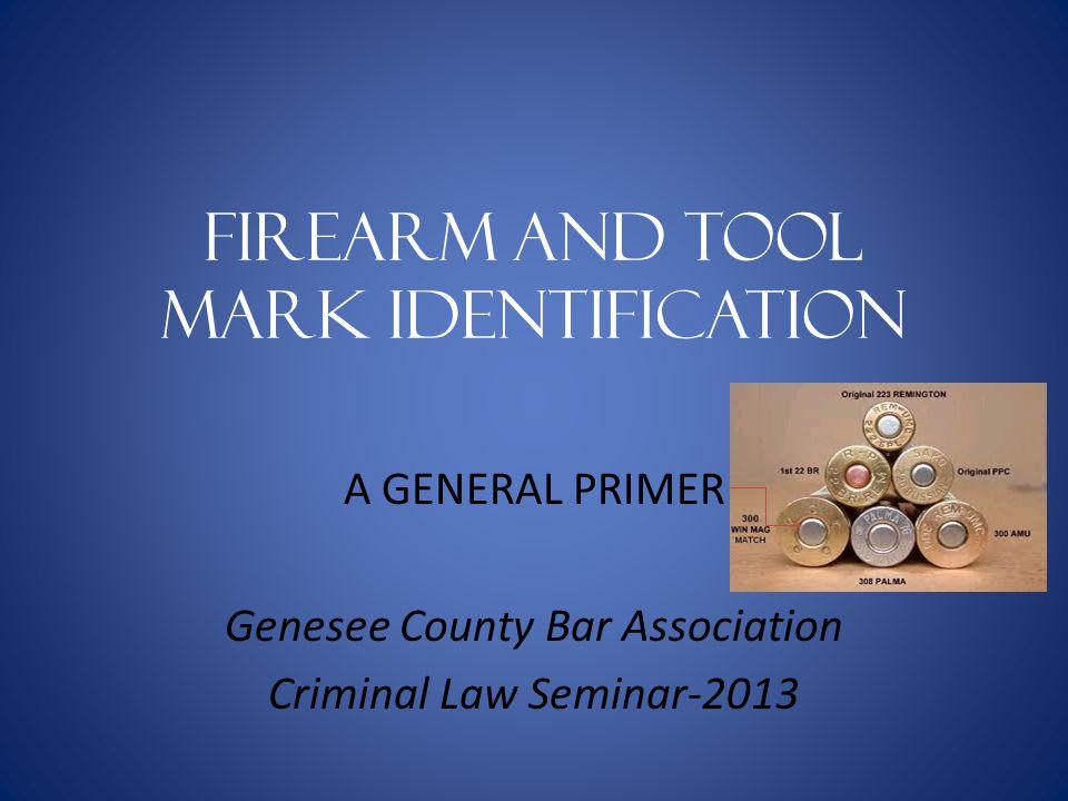 Firearm and Tool mark identification