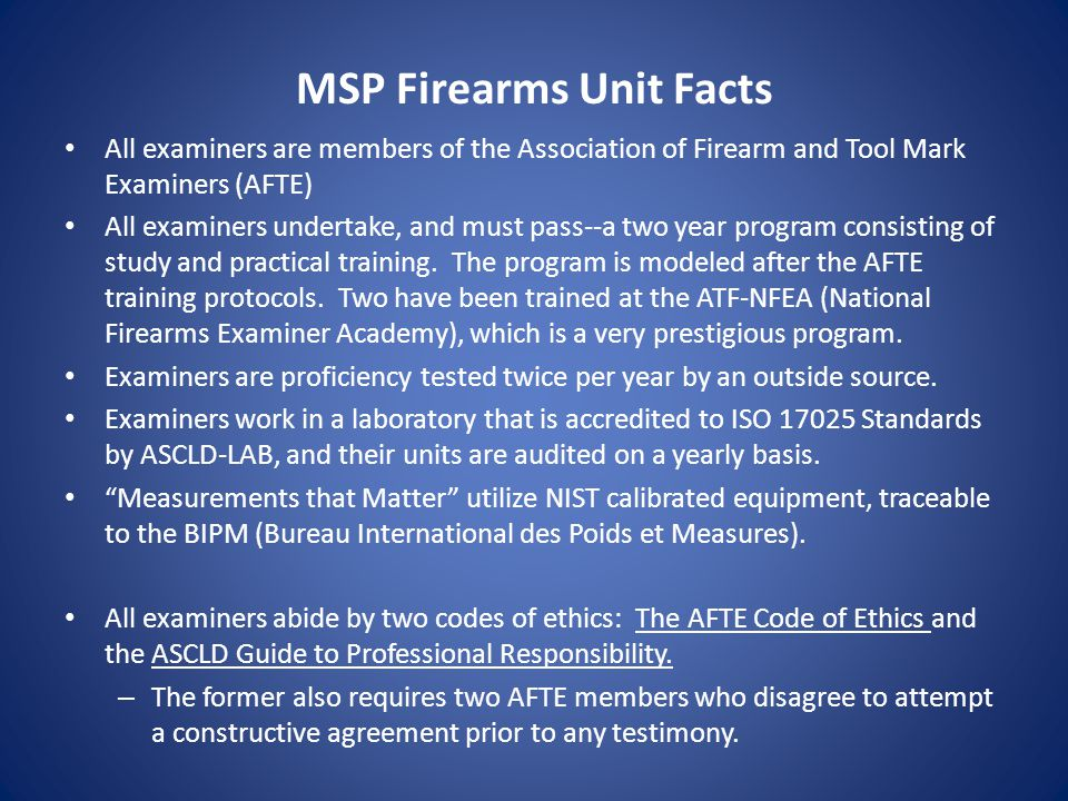 MSP Firearms Unit Facts
