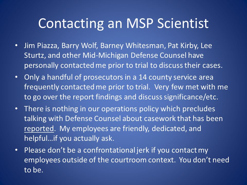 Contacting an MSP Scientist