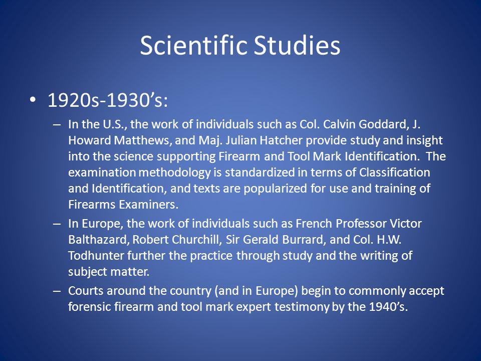 Scientific Studies 1920s-1930's: