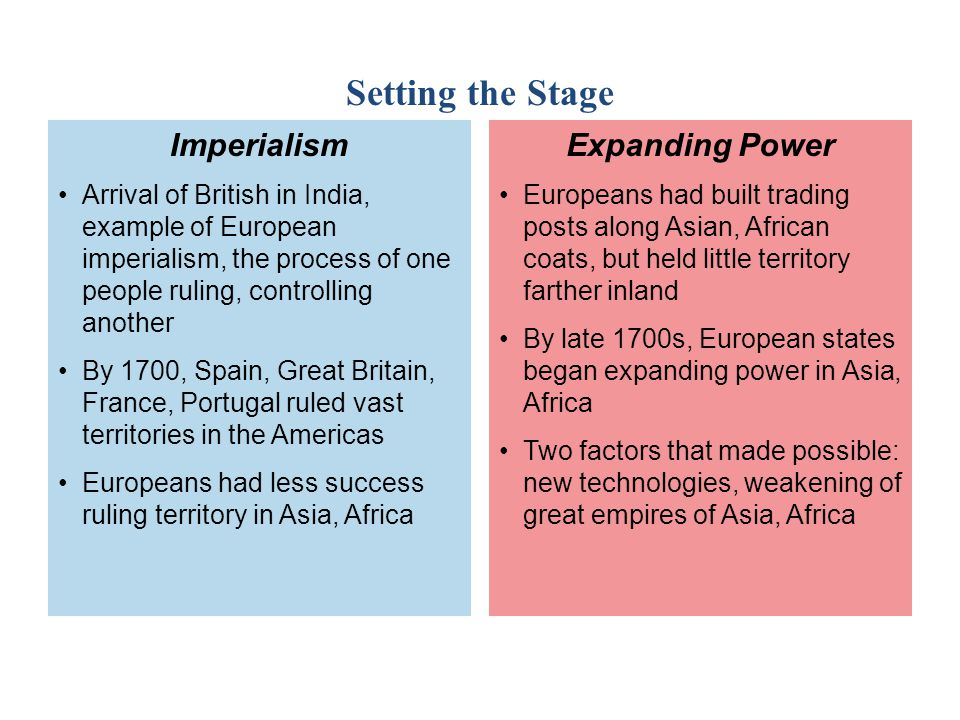 Setting the Stage Imperialism Expanding Power