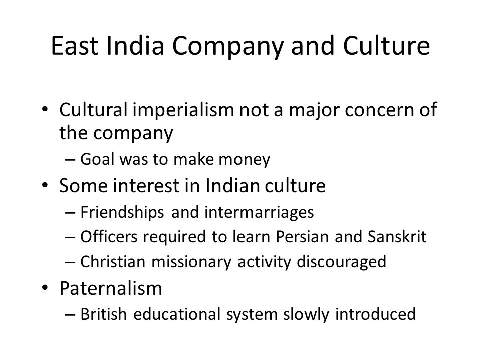 East India Company and Culture