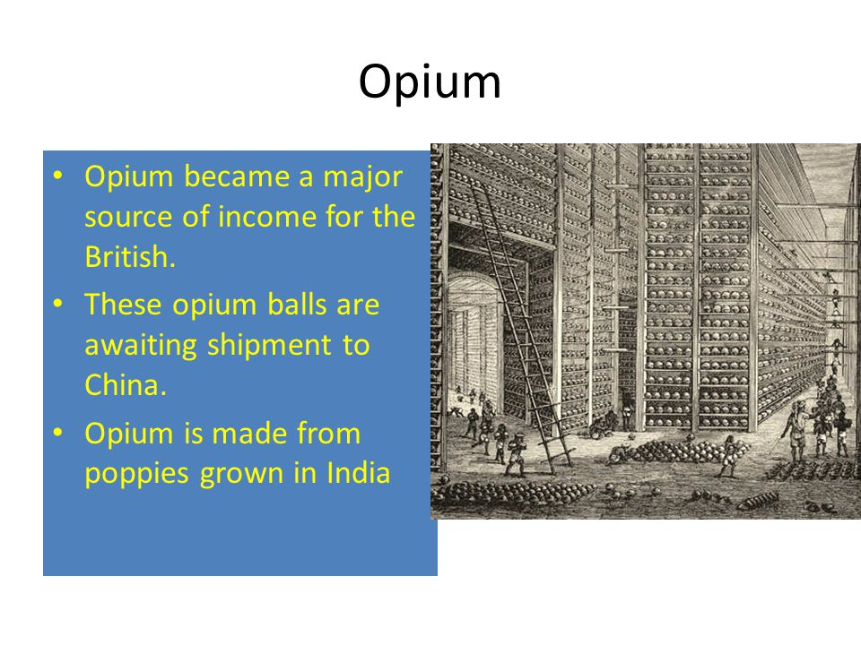 Opium Opium became a major source of income for the British.