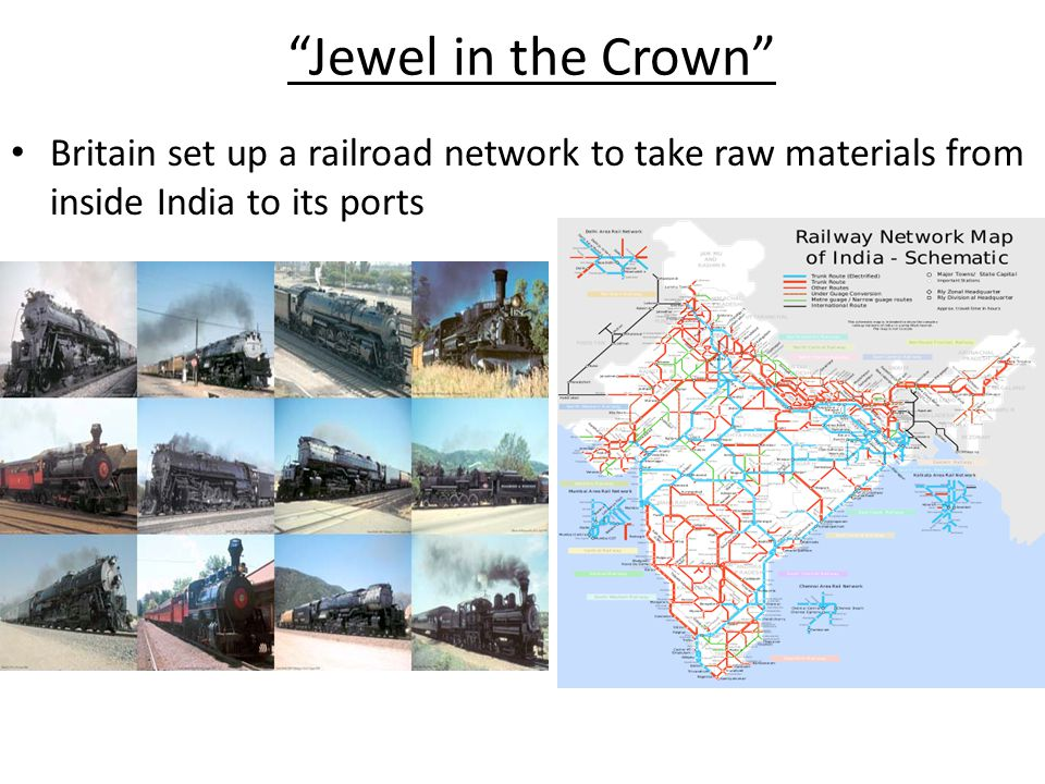 Jewel in the Crown Britain set up a railroad network to take raw materials from inside India to its ports.