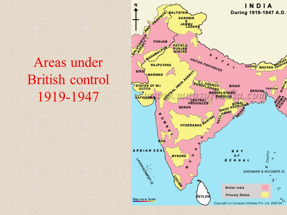 Areas under British control 1919-1947