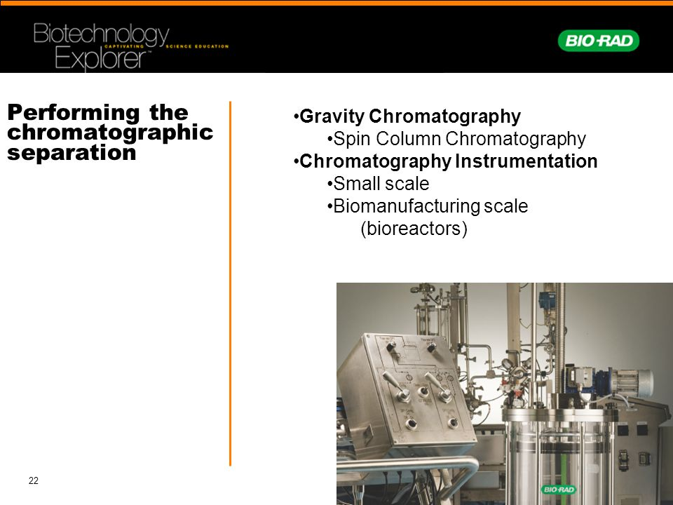 Performing the chromatographic separation