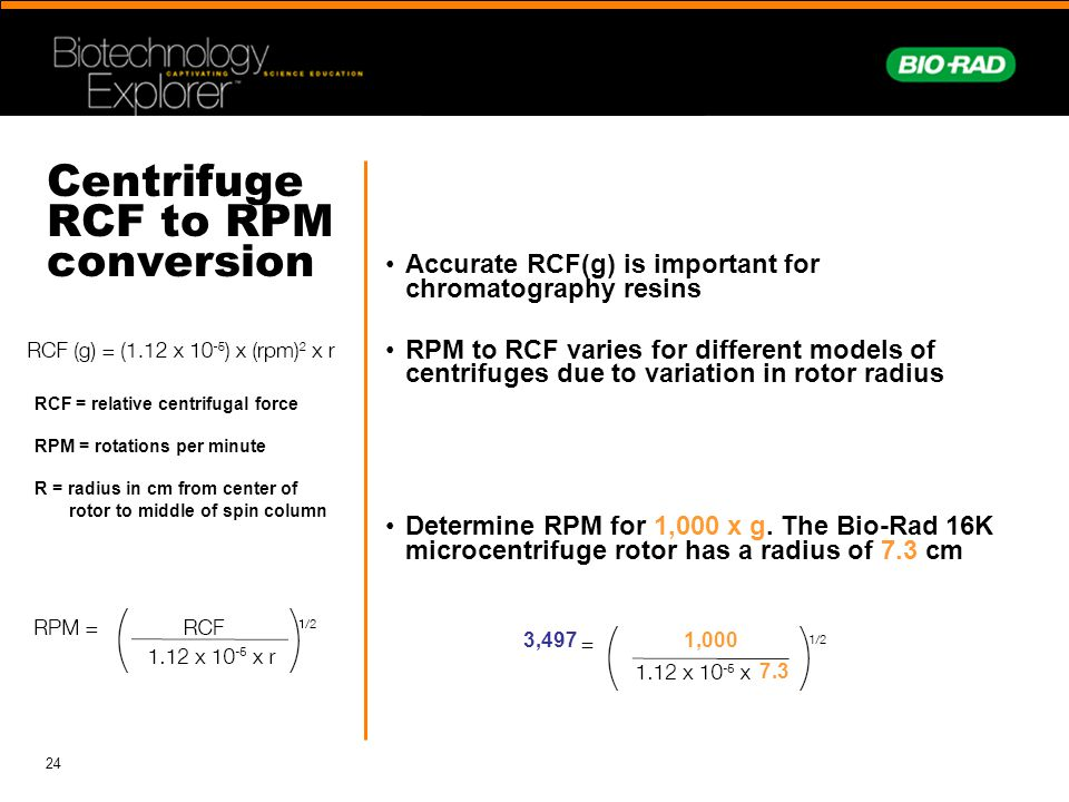 Centrifuge RCF to RPM conversion