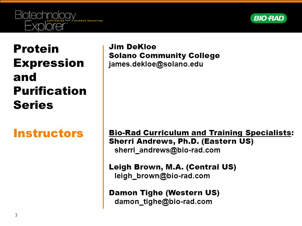 Protein Expression and Purification Series Instructors
