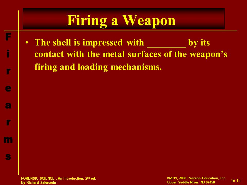 Firing a Weapon The shell is impressed with ________ by its contact with the metal surfaces of the weapon's firing and loading mechanisms.