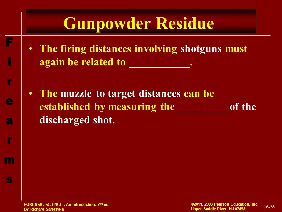 Gunpowder Residue The firing distances involving shotguns must again be related to ___________.