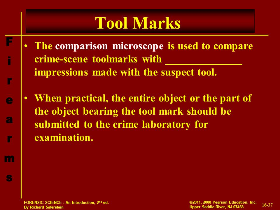 Tool Marks The comparison microscope is used to compare crime-scene toolmarks with ______________ impressions made with the suspect tool.