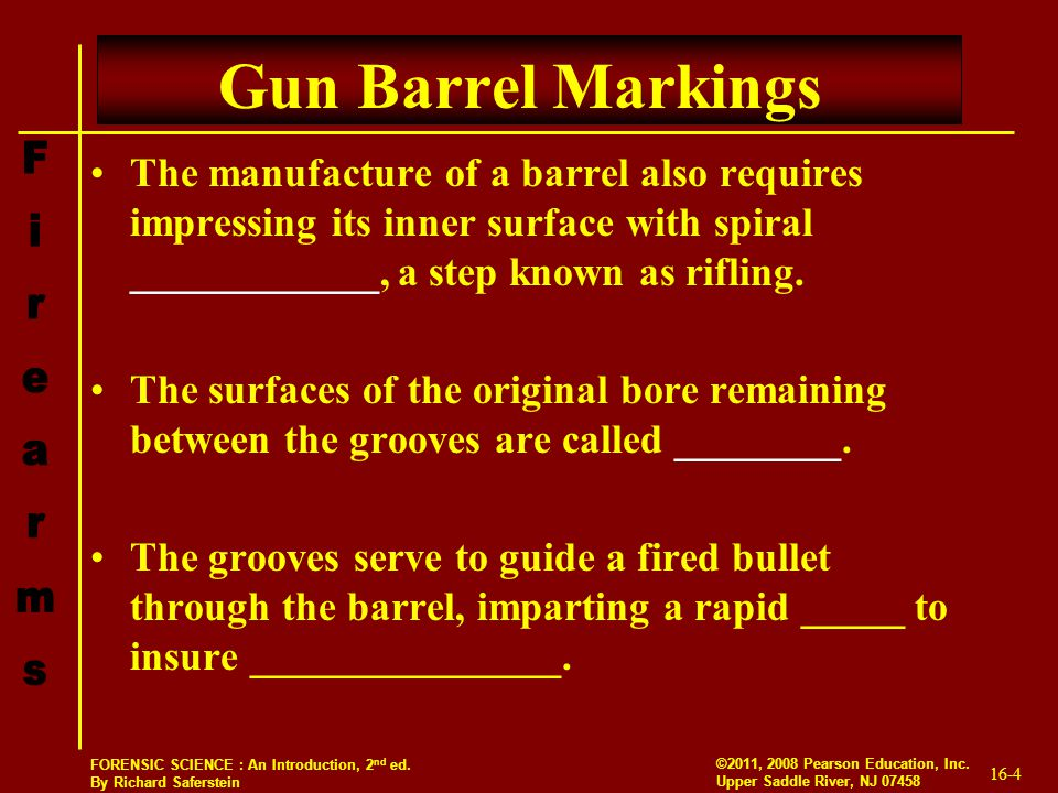 Gun Barrel Markings The manufacture of a barrel also requires impressing its inner surface with spiral ____________, a step known as rifling.