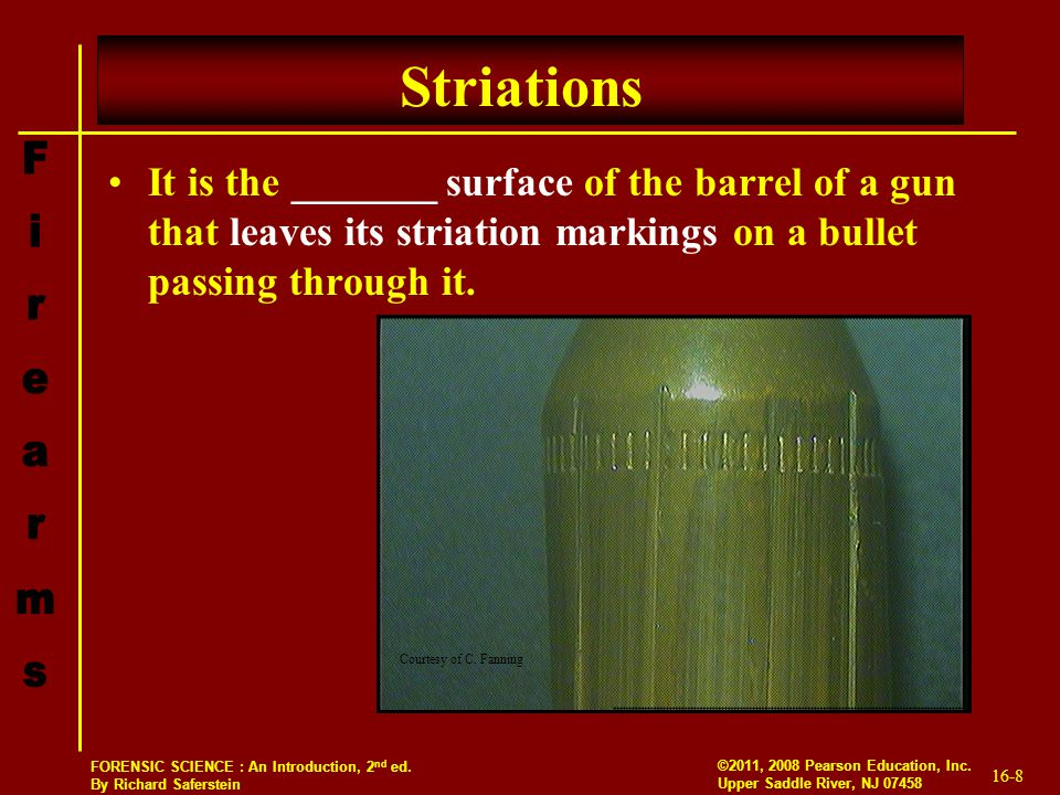 Striations It is the _______ surface of the barrel of a gun that leaves its striation markings on a bullet passing through it.