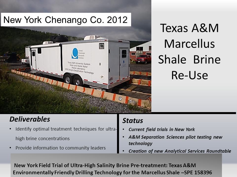 Texas A&M Marcellus Shale Brine Re-Use