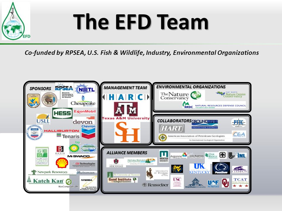 The EFD Team Co-funded by RPSEA, U.S. Fish & Wildlife, Industry, Environmental Organizations. ENVIRONMENTAL ORGANIZATIONS.