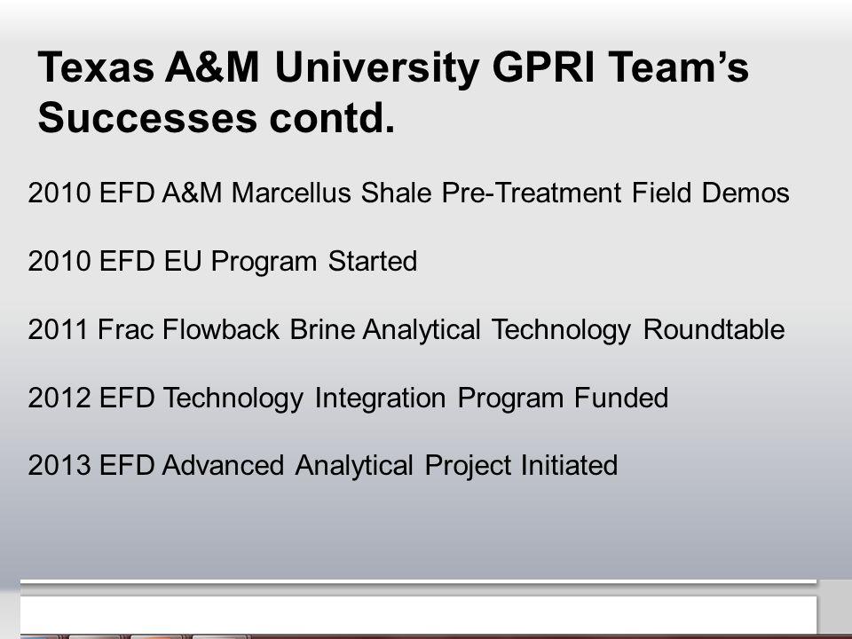 Texas A&M University GPRI Team's Successes contd.