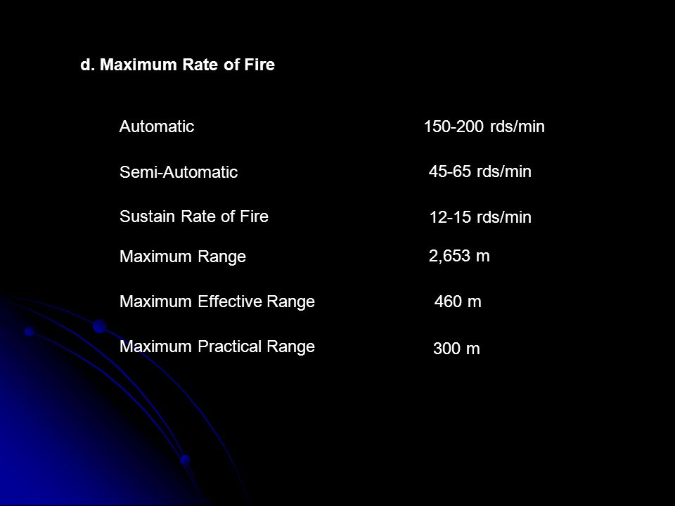 d. Maximum Rate of Fire Automatic. 150-200 rds/min. Semi-Automatic. 45-65 rds/min. Sustain Rate of Fire.