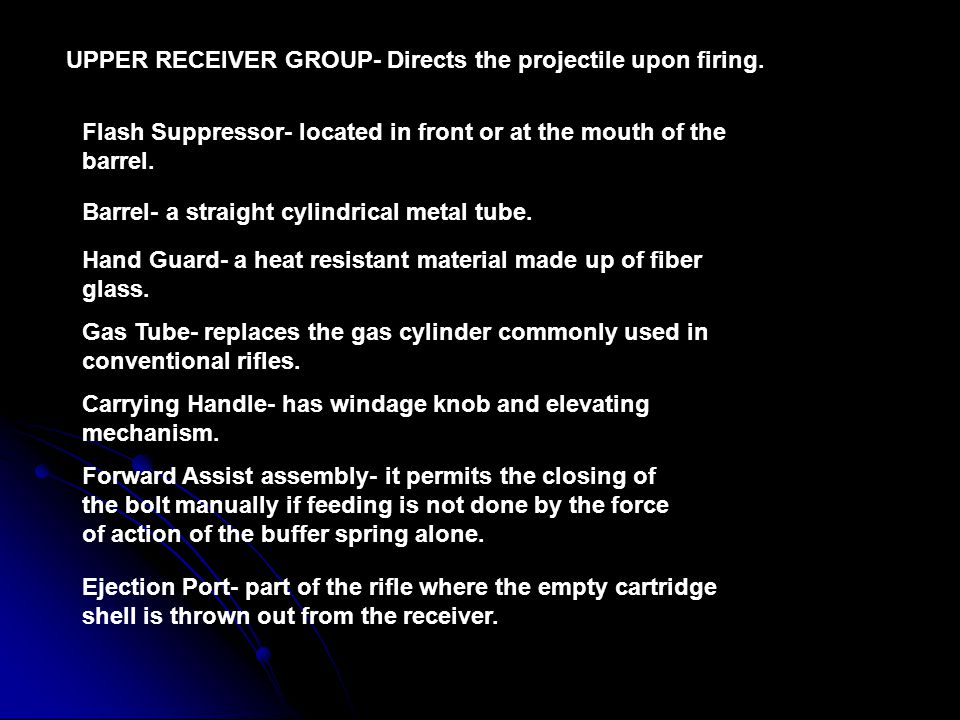UPPER RECEIVER GROUP- Directs the projectile upon firing.