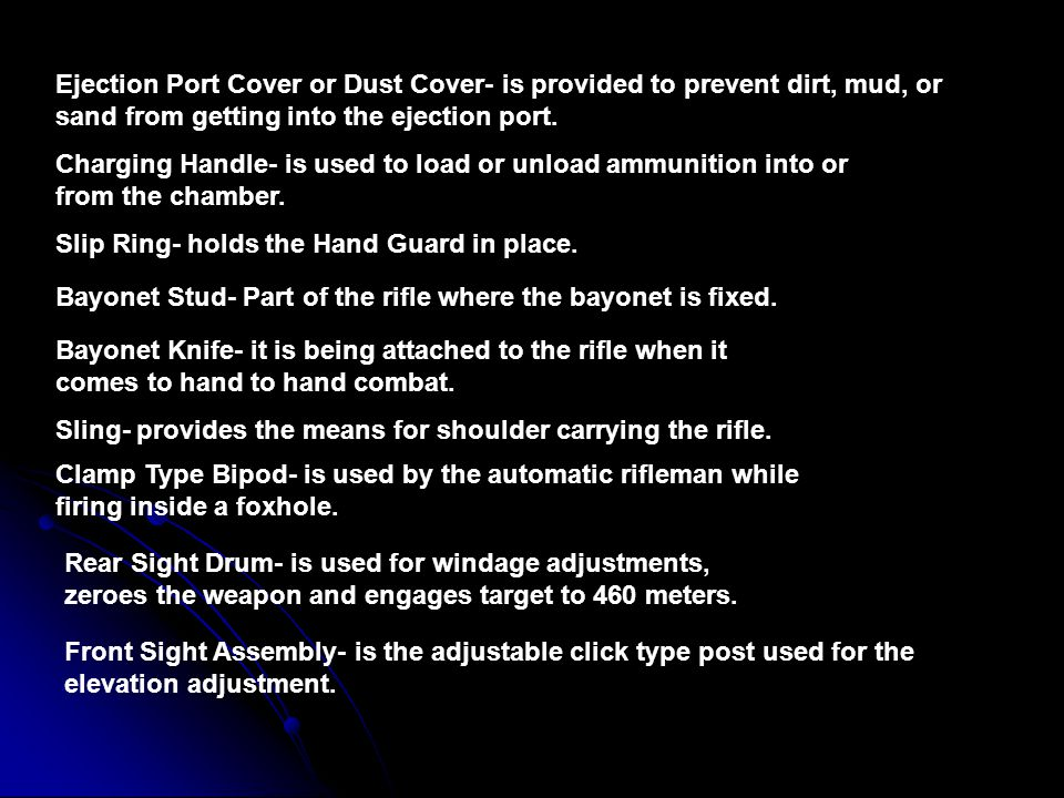 Ejection Port Cover or Dust Cover- is provided to prevent dirt, mud, or sand from getting into the ejection port.