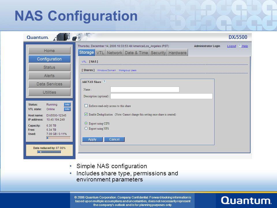 NAS Configuration Simple NAS configuration