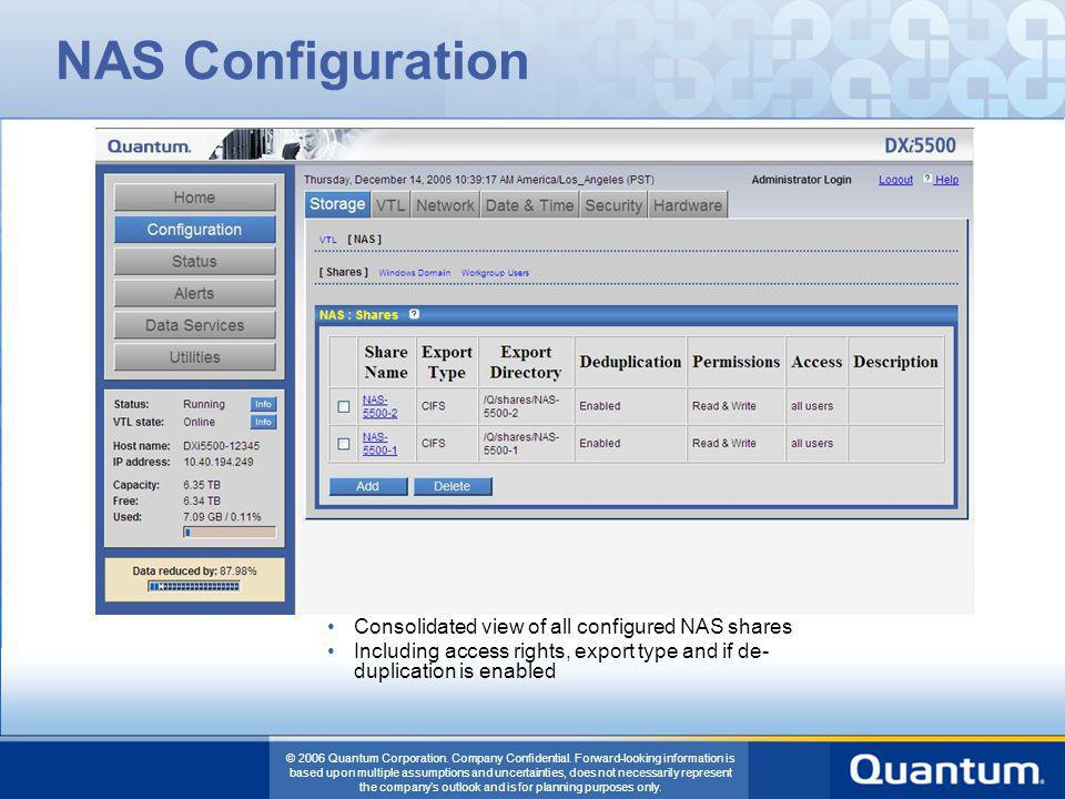 NAS Configuration Consolidated view of all configured NAS shares