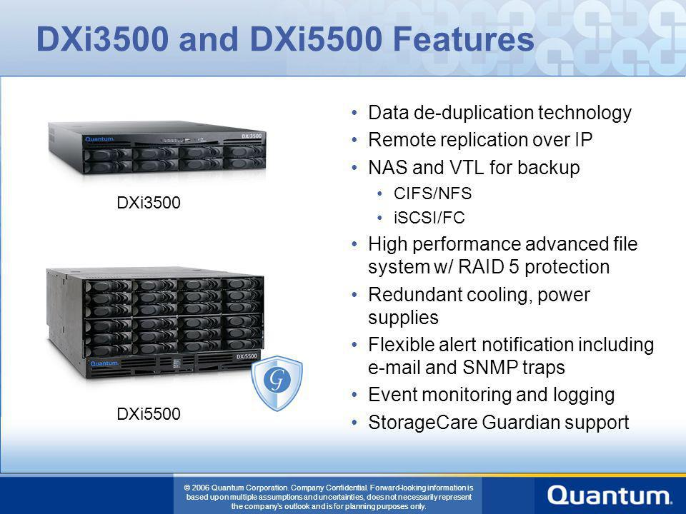DXi3500 and DXi5500 Features Data de-duplication technology