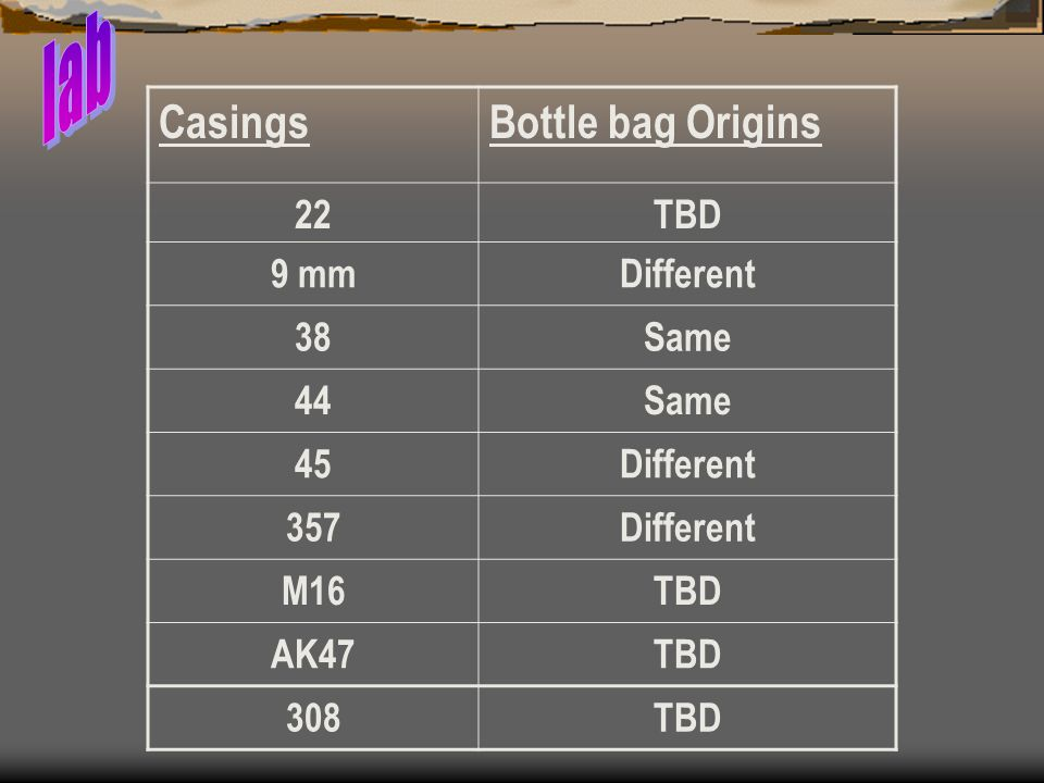 lab Casings Bottle bag Origins 22 TBD 9 mm Different 38 Same 44 45 357