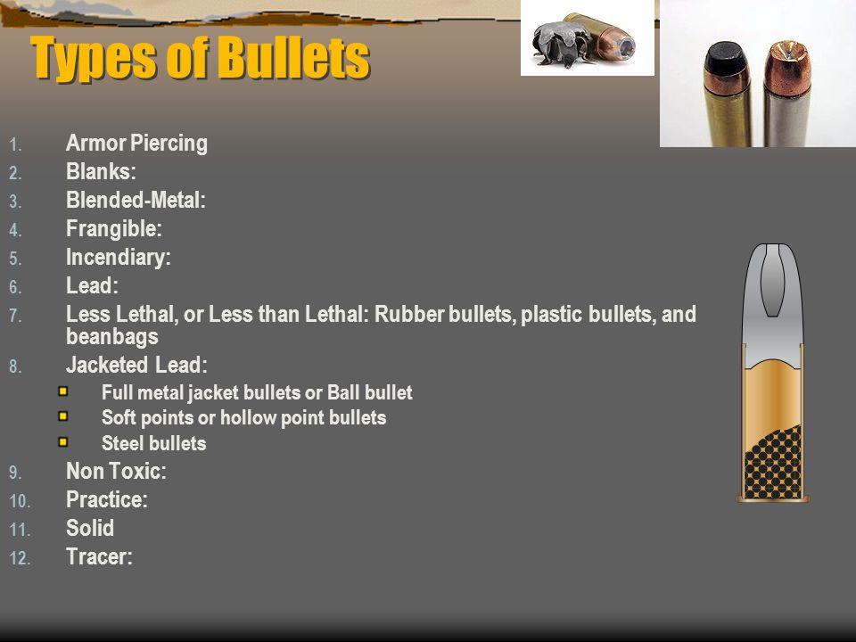 Types of Bullets Armor Piercing Blanks: Blended-Metal: Frangible: