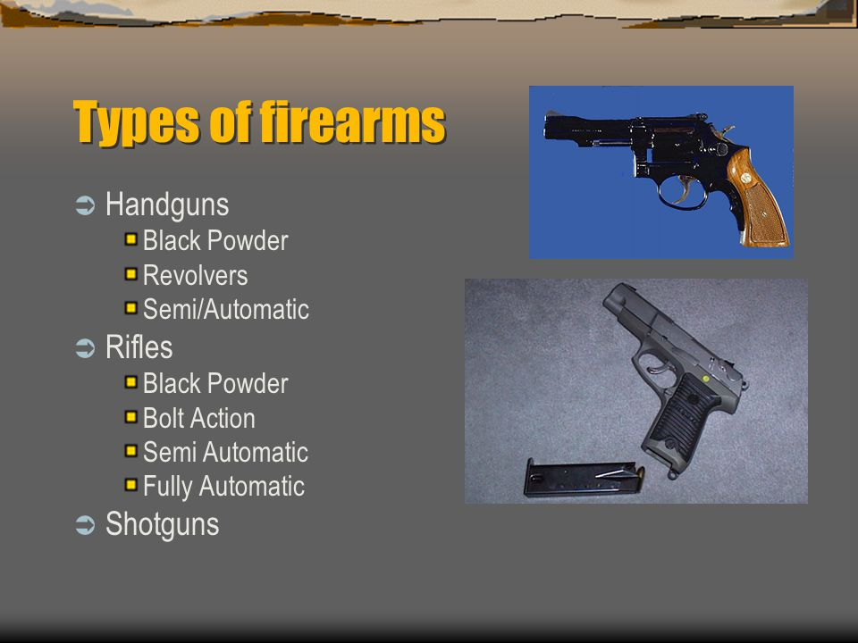 Types of firearms Handguns Rifles Shotguns Black Powder Revolvers
