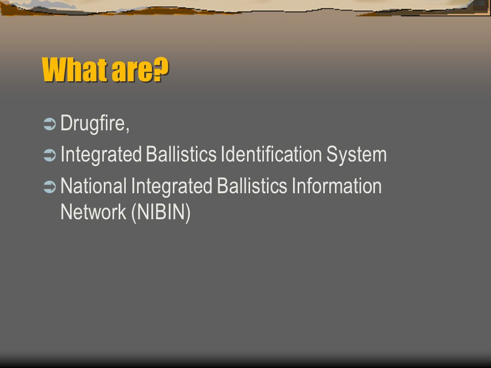 What are Drugfire, Integrated Ballistics Identification System