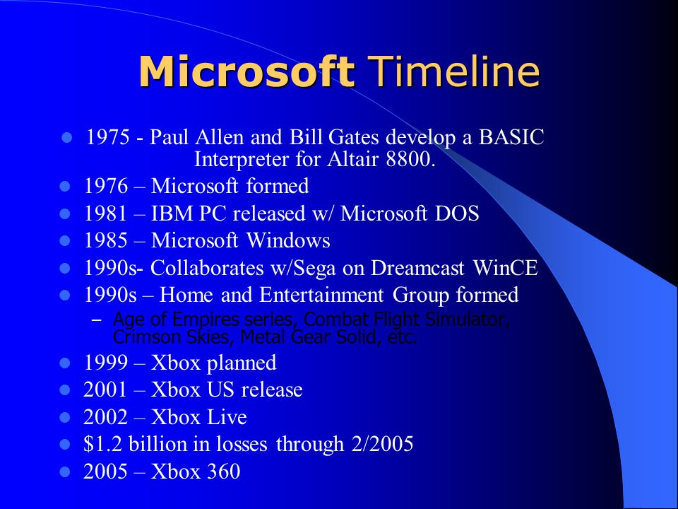 Microsoft Timeline 1975 - Paul Allen and Bill Gates develop a BASIC Interpreter for Altair 8800. 1976 – Microsoft formed.